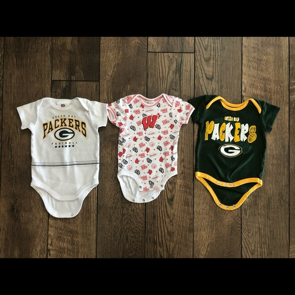 NFL Other - 3 Wisconsin Badgers & Packers Onesies